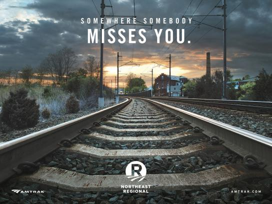 Amtrak Print Ad -  Somebody misses you