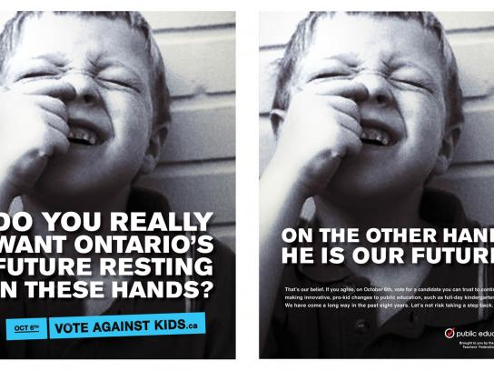 Elementary Teachers' Federation of Ontario Print Ad -  Vote against kids, Nose picker