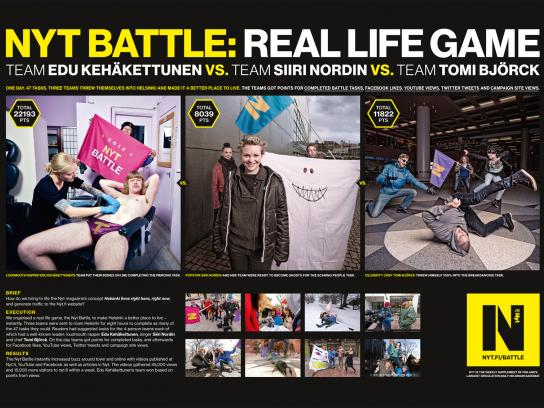 Helsingin Sanomat Ambient Ad -  Nyt Battle, Real life game