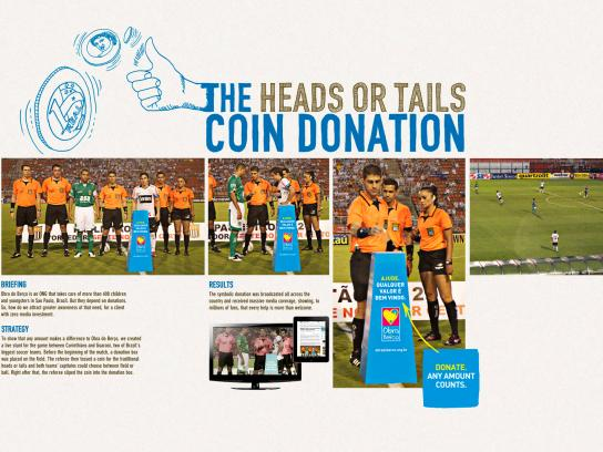 Obra do Berço Ambient Ad -  The heads and tails coin donation
