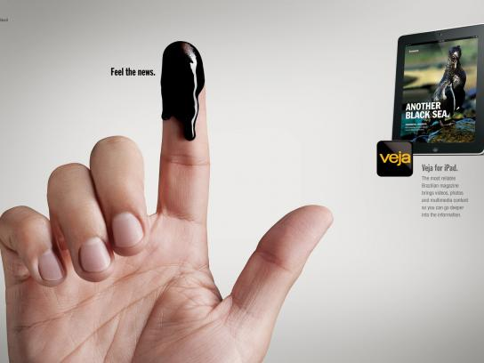 Veja Print Ad -  Fingers, Oil