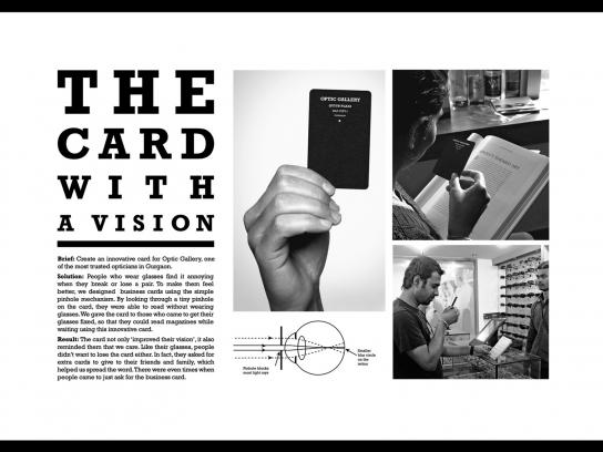 Optic Gallery Direct Ad -  The card with a vision