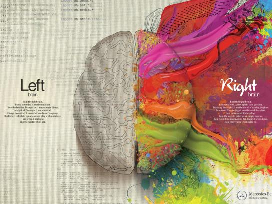 Mercedes Print Ad -  Left Brain - Right Brain, Paint