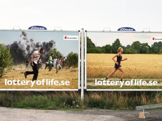 Save the Children Outdoor Ad -  The Lottery of Life, Palestine vs Sweden