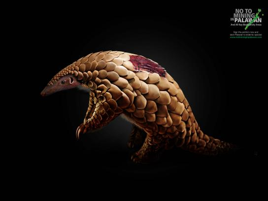 No To Mining In Palawan Print Ad -  Wounds, Pangolin