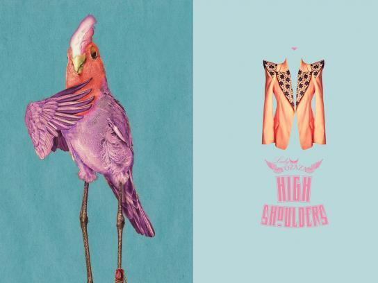 Lady Fozaza Print Ad -  Long Legged Pets, Parrot