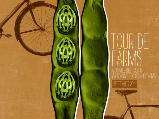 Braise Local Food Print Ad -  Tour de Farms, Peapod helmets