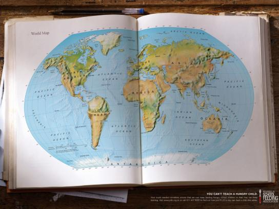 Peninsula School Feeding Association Print Ad -  World map