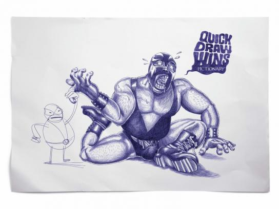 Pictionary Print Ad -  Wrestler