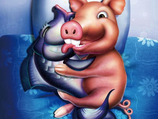 Asahi Kasei Print Ad -  Pig hug fish
