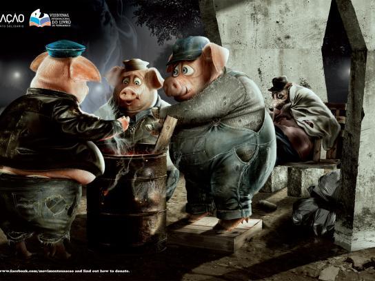 SÓ AÇÃO Print Ad -  Book Donation, Pigs