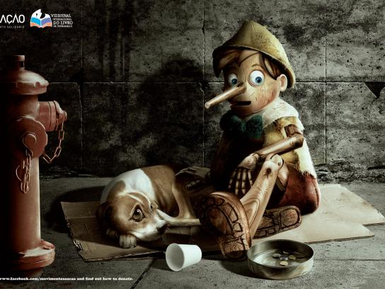 SÓ AÇÃO Print Ad -  Book Donation, Pinocchio