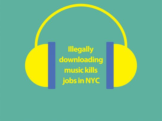 NYC Office of Film Theatre and Broadcasting Print Ad -  Piracy doesn't work, Music