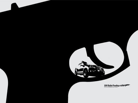 EVO Print Ad -  Bulletproof your SUV, Pistol