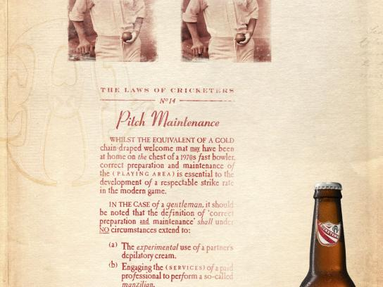 Cricketer's Arms Lager Print Ad -  Pitch Maintenance