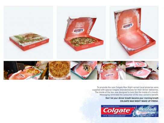 Colgate Direct Ad -  Pizza Box