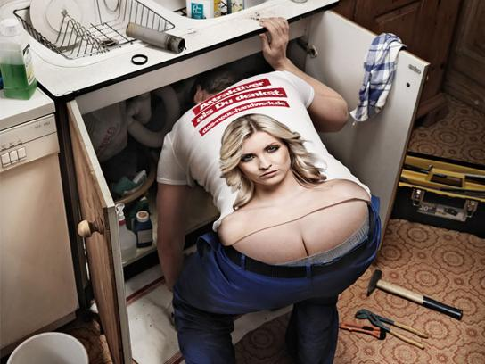 The German Crafts Print Ad -  The Craftsmen's Boobs, Plumber