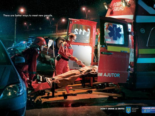 Romanian Traffic Police Print Ad -  Meet New People, Stretcher