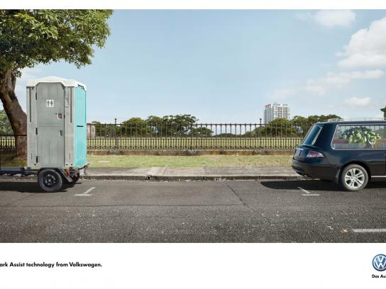 Volkswagen Print Ad -  Park Assist Technology, Portaloo-Hearse