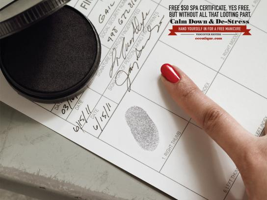 eccotique Print Ad -  Hand yourself in for a free manicure, 2
