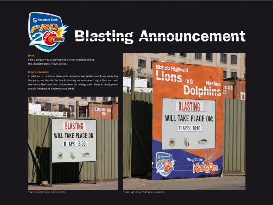 Pro20 Cricket Series Ambient Ad -  Blasting Announcement