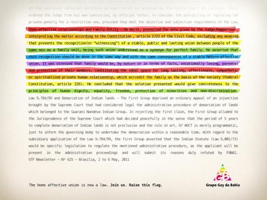 Gay Group of Bahia Print Ad -  Homo affective union