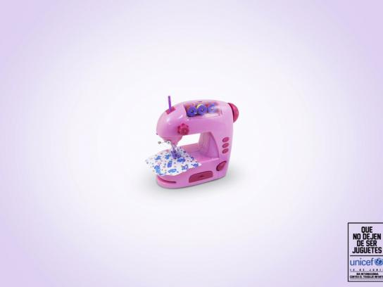Unicef Print Ad -  Non stop being a toy, Sewing machine