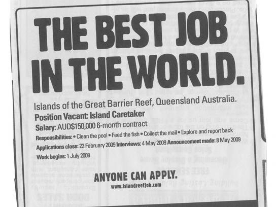 Tourism Queensland Print Ad -  Best job in the world