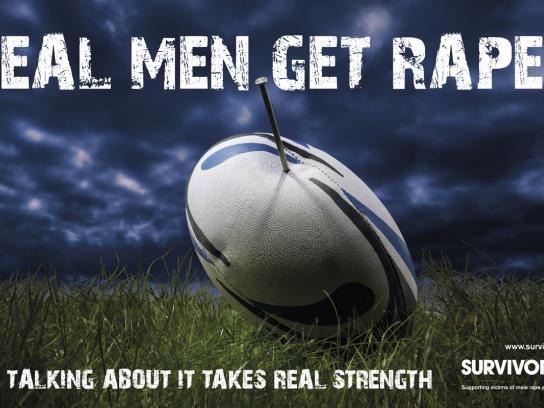 Survivors UK Outdoor Ad -  Real Men Get Raped