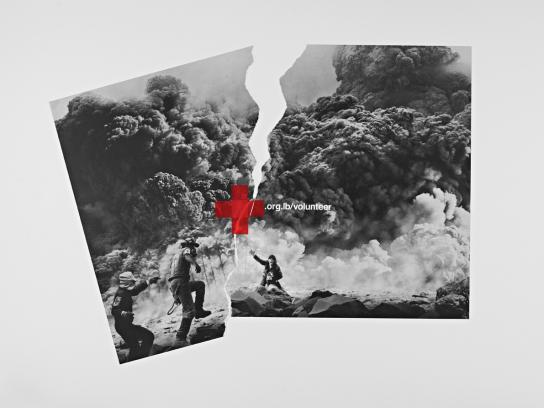 Red Cross Print Ad -  Volcano