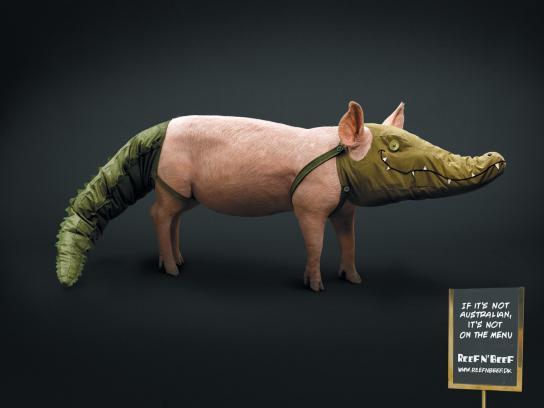 Reef n' Beef Print Ad -  Pig
