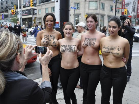ReThink Breast Cancer Ambient Ad -  Boobyball stunt