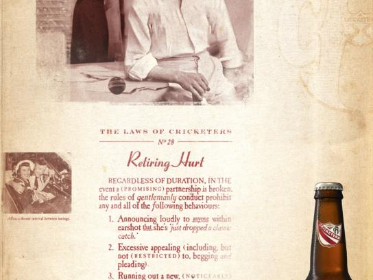 Cricketer's Arms Lager Print Ad -  Retiring Hurt