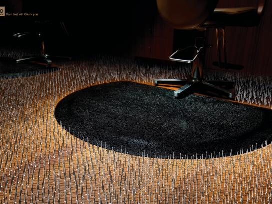 Rhino Salon Mats Print Ad -  Floor Nails