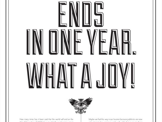 Saatchi & Saatchi Print Ad -  The World ends in one year