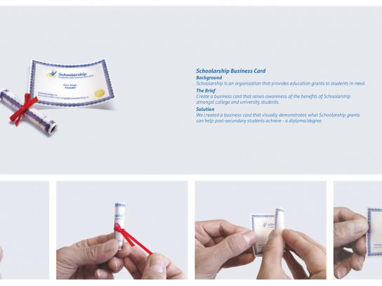 Schoolarship Direct Ad -  Degree/Diploma business card