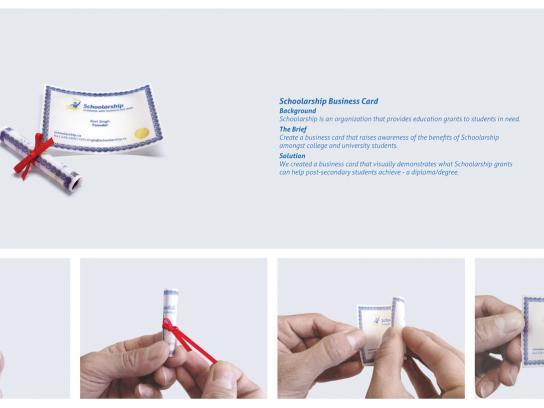 Schoolarship Direct Ad -  Degree/Diploma business card