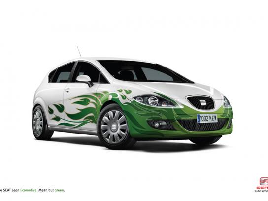 Seat Print Ad -  Green flames
