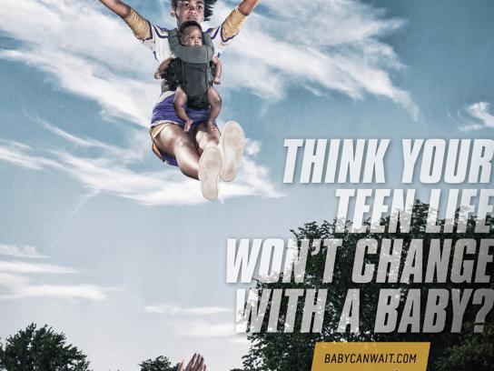 babycanwait.com Print Ad -  Cheerleading