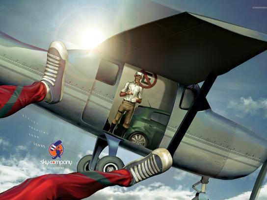 Sky Company Skydiving Print Ad -  Police