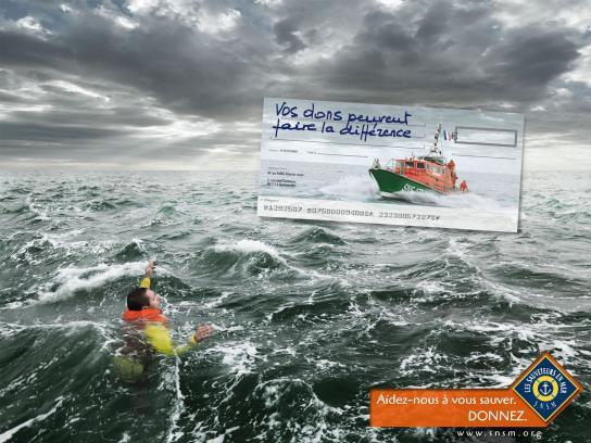 Les Sauveteurs En Mer Print Ad -  Cheque