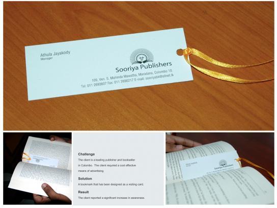 Sooriya Publishers Direct Ad -  Bookmark