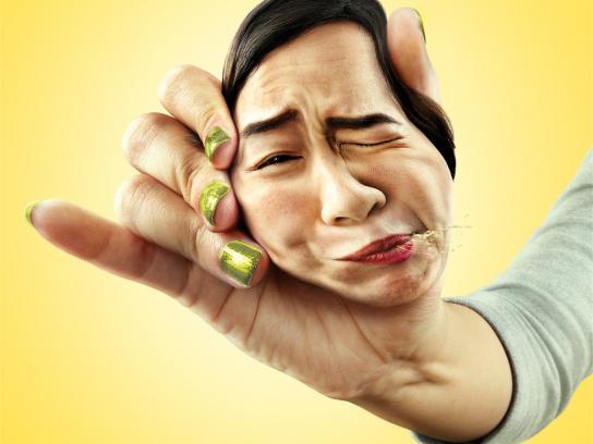 Sour Lemon Print Ad -  Face Squeeze, Girl