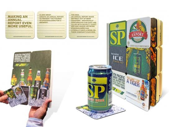 SP Breweries Direct Ad -  Annual report made of beer coasters