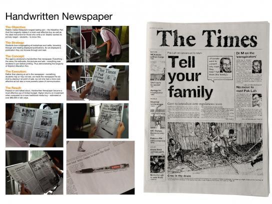 Stabilo Print Ad -  Handwritten newspaper