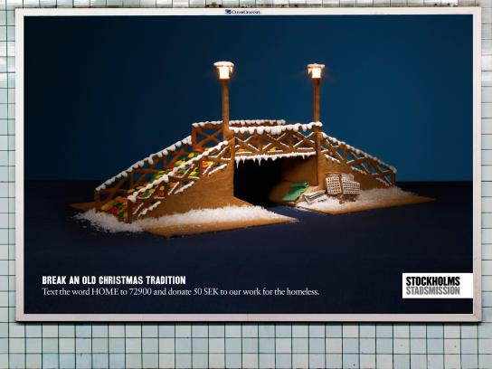 Stockholms Stadsmission Outdoor Ad -  Break an old Christmas Tradition, Bridge