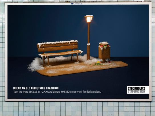 Stockholms Stadsmission Outdoor Ad -  Break an old Christmas Tradition, Bench