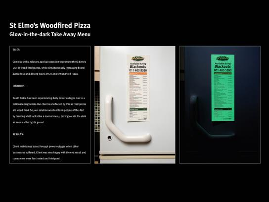 St Elmo's Wood Fired Pizza Ambient Ad -  Glow in the dark menu