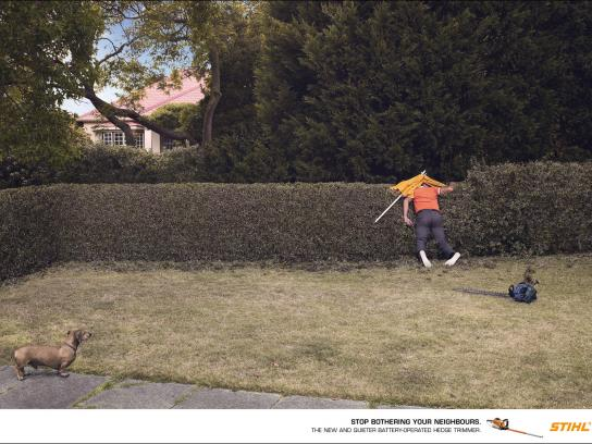 Stihl Print Ad -  Neighbours, Umbrella