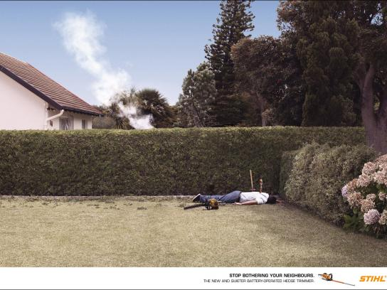 Stihl Print Ad -  Neighbours, BBQ